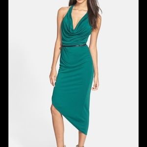Halston Heritage Belted Jersey Dress